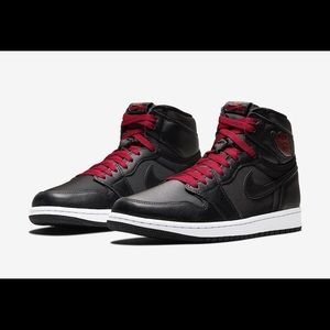Nike Air Jordan 1 Satin Black & Red